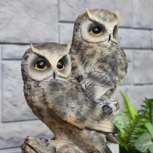 Sunnydaze Watchful Owls Outdoor Garden Statue - 13-Inch Perspective: back
