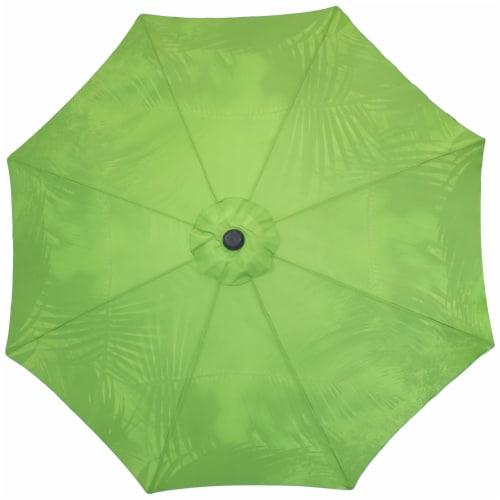 Sunnydaze Patio Market Umbrella Green with Tropical Leaf Design - 8-Foot Perspective: back