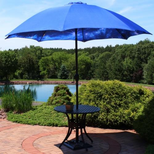 Sunnydaze Patio Market Umbrella Blue Starry Galaxy Design - Aluminum - 8-Foot Perspective: back