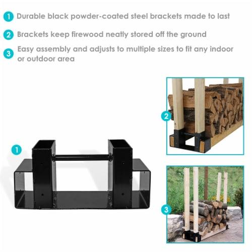 Sunnydaze DIY Log Rack Brackets Kit Steel Outdoor Adjustable Storage - Set of 3 Perspective: back