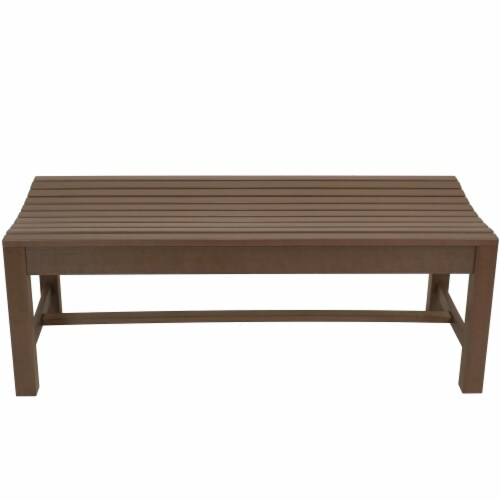 Sunnydaze Shandon Outdoor Backless Garden Bench - 50-Inch - Brown Perspective: back
