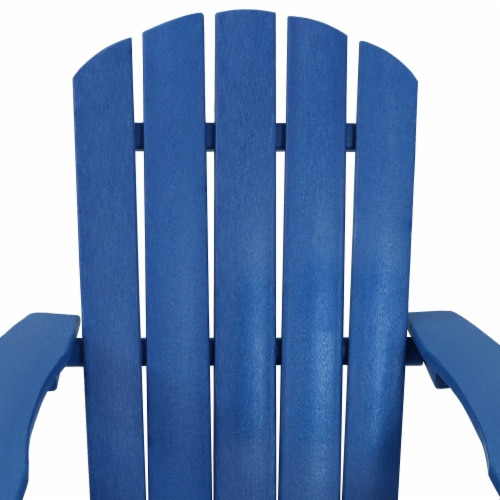 Sunnydaze All-Weather Blue Outdoor Adirondack Chair with Drink Holder - Set of 2 Perspective: back