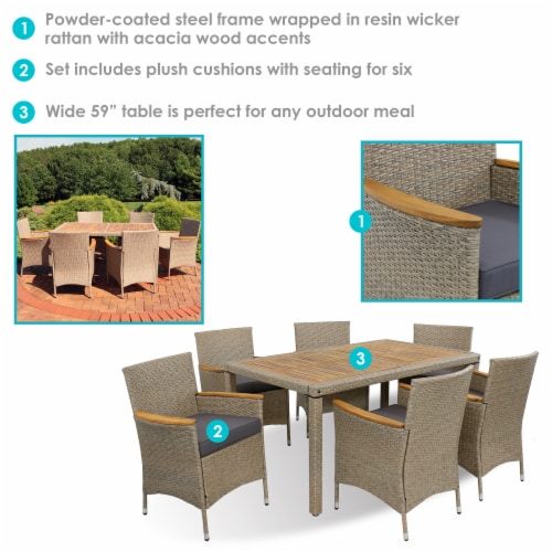 Sunnydaze Foxford 7-Piece Outdoor Dining Patio Furniture Set with Cushions Perspective: back