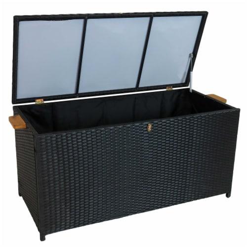 Sunnydaze Outdoor Storage Deck Box with Acacia Handles - Black Resin Rattan Perspective: back