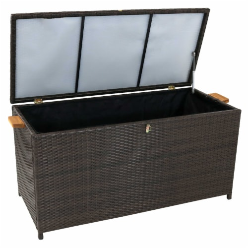 Sunnydaze Outdoor Storage Deck Box with Acacia Handles - Brown Resin Rattan Perspective: back
