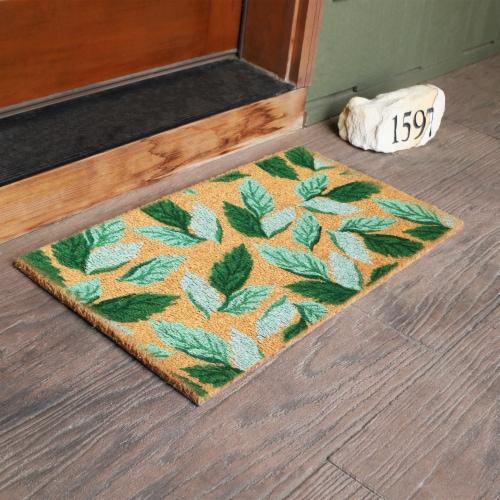 """Sunnydaze 17"""" x 29"""" PVC and Coir Indoor/Outdoor Doormat - Green Leaves Perspective: back"""