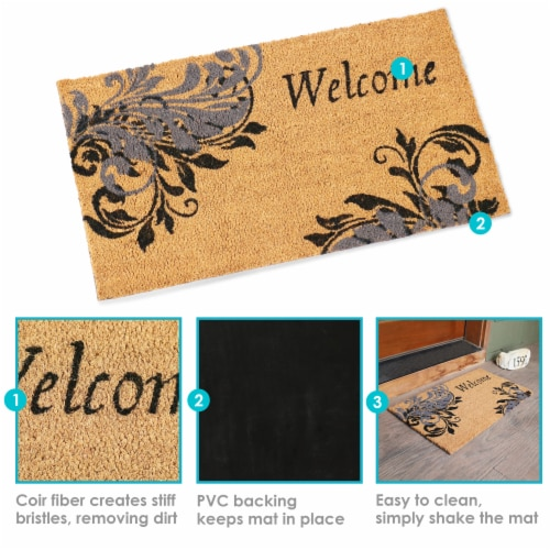 Sunnydaze 17-Inch x 29-Inch PVC and Coir Doormat - Blue Leaf Scroll Perspective: back