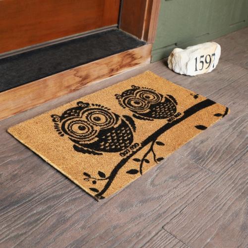 """Sunnydaze 17"""" x 29"""" PVC and Coir Indoor/Outdoor Doormat - Black/Tan Owl Perspective: back"""