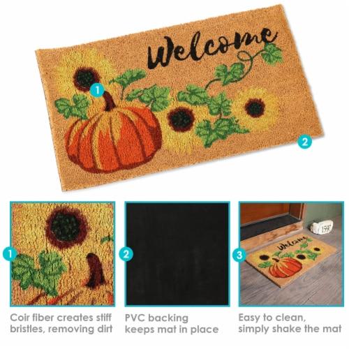 Sunnydaze 17-Inch x 29-Inch PVC and Coir Indoor/Outdoor Doormat - Pumpkin Perspective: back