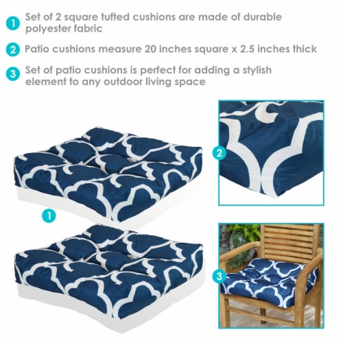 Sunnydaze Set of 2 Tufted Outdoor Seat Cushions - Navy Blue and White Quatrefoil Perspective: back