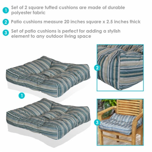 Sunnydaze Set of 2 Tufted Outdoor Seat Cushions - Neutral Stripes Perspective: back