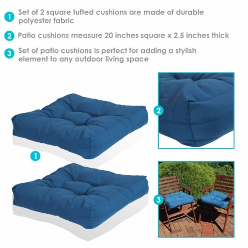 Sunnydaze Set of 2 Tufted Outdoor Seat Cushions - Blue Perspective: back