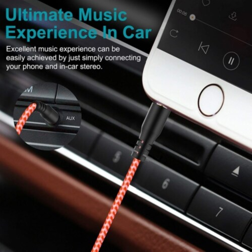 Ihip 10ft Braided Auxiliary Audio Cable Perspective: back