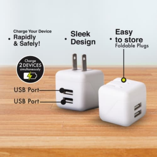 Ihip Dual Usb 2.4amp Wall Block Charger Perspective: back