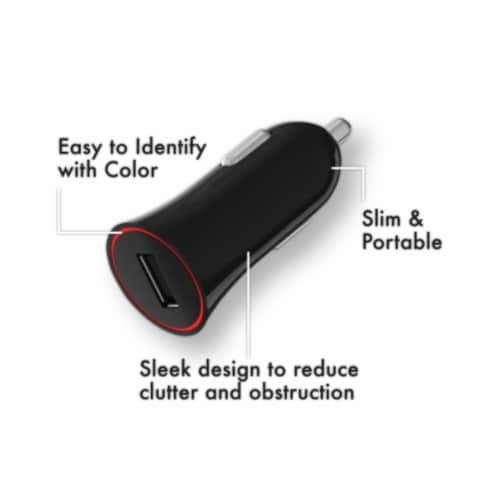 Ihip Single Usb Black 1a Car Charger Perspective: back