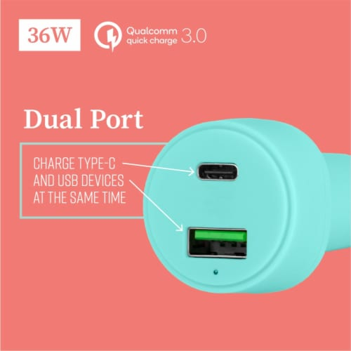 Mochic Car Charger Dual Port Usb A & Type C 36w Perspective: back