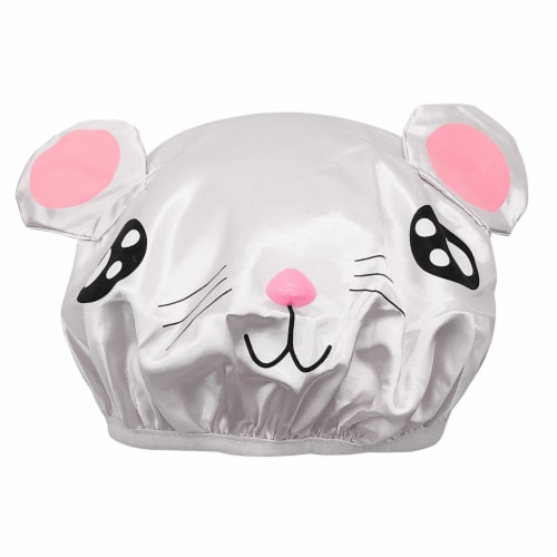 Wrapables Fun Double Layer Waterproof Shower Caps for Kids (Set of 2), Animal Ears Perspective: back