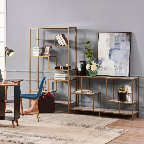 Versanora Wooden TV Stand Unit With Faux Marble/Brass Finish Marmo VNF-00084 Perspective: back