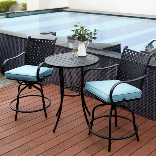 Peaktop Patio Furniture Set Table & 2 Chairs Gray Bistro Set Swivel PT-OF0001 Perspective: back