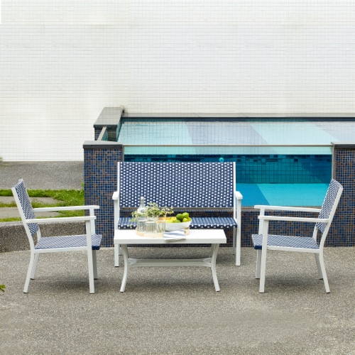 Peaktop Patio Furniture Set Table & 4 Chair White Blue Wicker Coastal PT-OF0002 Perspective: back