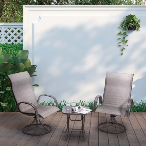 Peaktop Patio Furniture Set Garden Table & 2 Chairs Gray Bistro Set PT-OF0003 Perspective: back