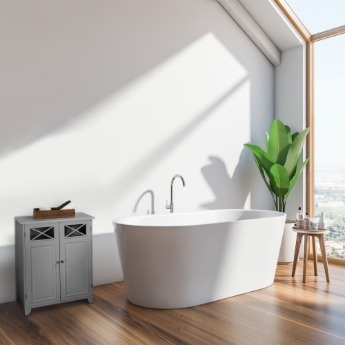 Elegant Home Fashions Wooden Bathroom Cabinet Standing Grey Dawson EHF-6841G Perspective: back