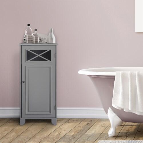 Elegant Home Fashions Bathroom Floor Cabinet With One Door Grey Dawson EHF-6834G Perspective: back