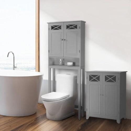 Elegant Home Fashions Wooden Over Toilet Cabinet Adjustable Shelves EHF-6803G Perspective: back