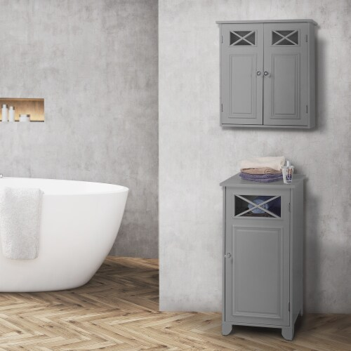Elegant Home Fashions Bathroom Wall Cabinet With Two Doors Grey Dawson EHF-6810G Perspective: back
