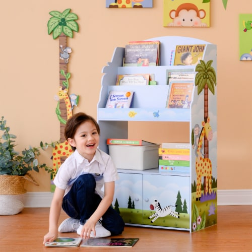 Fantasy Fields Kids Wooden Bookcase 3 Tier & Drawer Sunny Safari TD-13394SS Perspective: back
