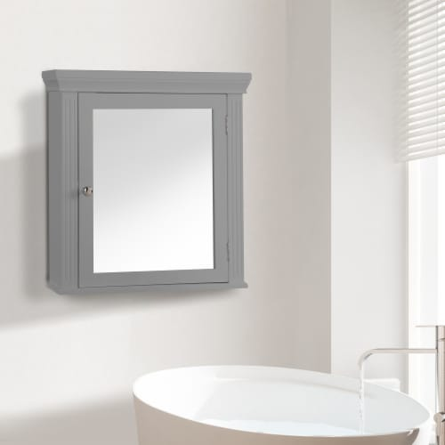 Elegant Home Fashions Wooden Bathroom Medicine Cabinet Mirror Grey EHF-6544G Perspective: back