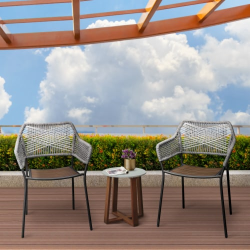 Peaktop Patio Furniture Set Table & 2 Chairs Stackable Bistro Set Wood PT-OF0012 Perspective: back