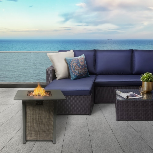Peaktop Firepit Outdoor Gas Fire Pit Metal Fabric, Lava Rock, Cover HF28201AA Perspective: back