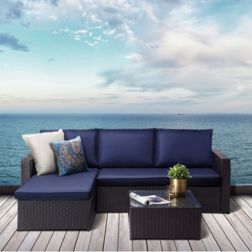 Peaktop Patio Furniture Sofa Set Garden Chairs Blue & Gray Rattan PT-OF0007 Perspective: back