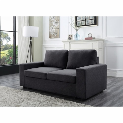 Lilola Home Brenton Loveseat Couch in Color Dark Gray Linen Fabric Perspective: back