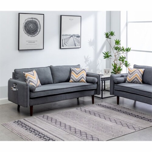 Lana Mid-Century Modern Gray Fabric Sofa Couch with USB Charging Ports Perspective: back