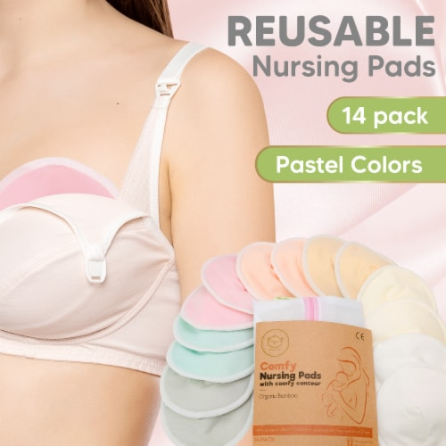 """Organic Bamboo Nursing Pads (Pastel Touch, X-Large 5.5"""") Perspective: back"""