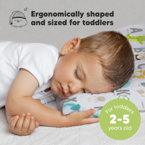 Hypoallergenic Toddler Pillow with 100% Cotton Pillowcase (KeaABC) Perspective: back