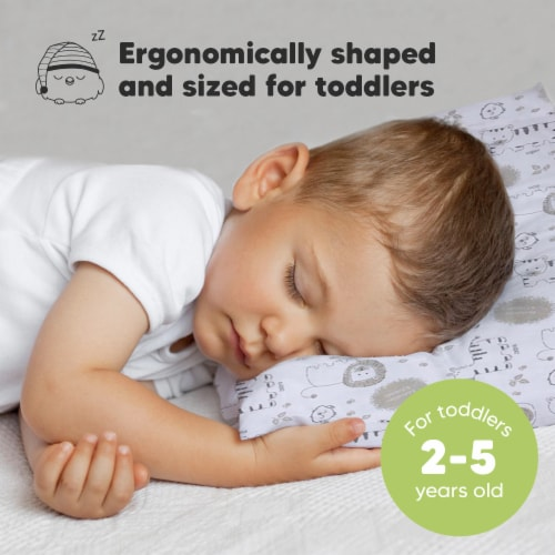Hypoallergenic Toddler Pillow with 100% Cotton Pillowcase (KeaSafari) Perspective: back
