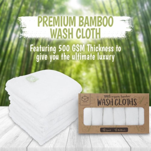 Deluxe Baby Bamboo Washcloths (Soft White) Perspective: back