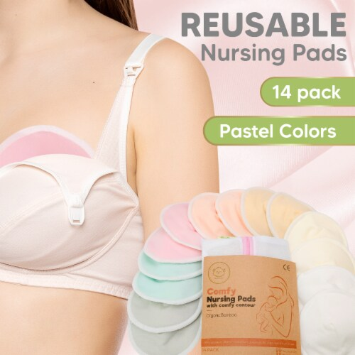 """COMFY Organic Bamboo Nursing Pads (Pastel Touch Lite, Large 4.8"""") Perspective: back"""