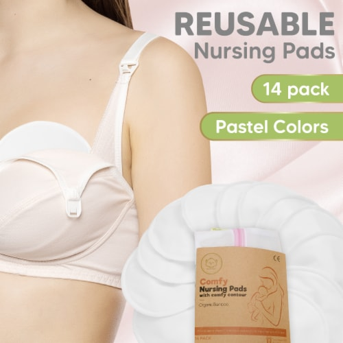 """COMFY Organic Bamboo Nursing Pads (Soft White, X-Large 5.5"""") Perspective: back"""