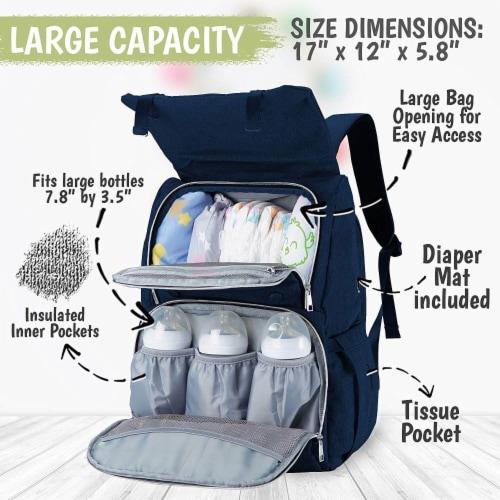 Explorer Diaper Backpack (Navy Blue) Perspective: back