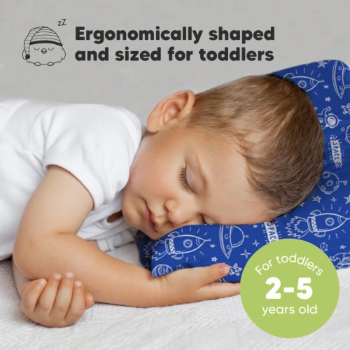 Hypoallergenic Toddler Pillow with 100% Cotton Pillowcase (Off to Space) Perspective: back