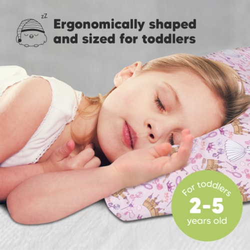 Hypoallergenic Toddler Pillow with 100% Cotton Pillowcase (Dear Princess) Perspective: back