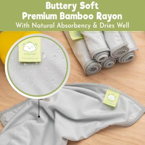 ACTIVE+ Bamboo Baby Washcloths (French Gray) Perspective: back