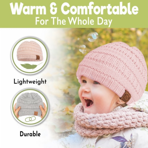 3-Pack Warmzy Baby Beanies (Sweet Pea) Perspective: back