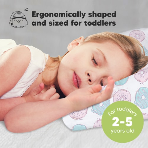 Hypoallergenic Toddler Pillow with 100% Cotton Pillowcase (Donuts) Perspective: back