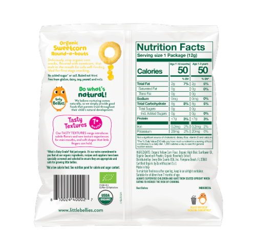 Little Bellies Baby Bellies Organic Sweetcorn Round-a-bouts Snack Perspective: back