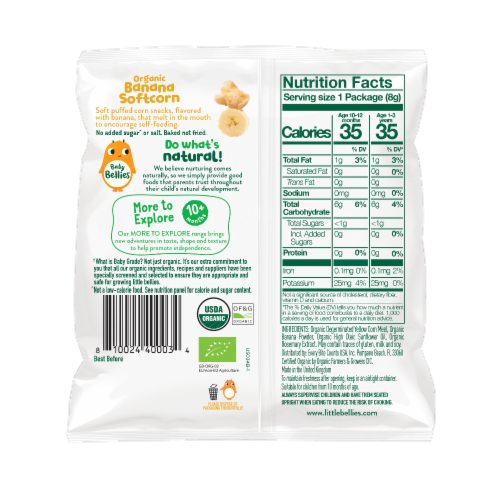 Little Bellies Baby Bellies Organic Banana Softcorn Snack Perspective: back